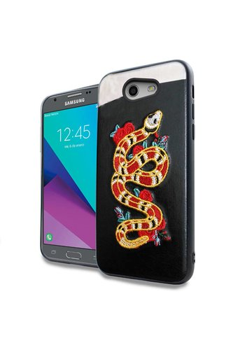 PC TPU Embroidery Design Case for Galaxy J3 Emerge / Prime (2017) Snake