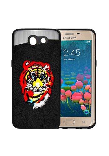 PC TPU Embroidery Design Case for Galaxy J7 Perx / Prime 2017 Tiger