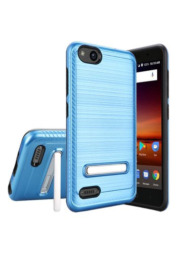 Metallic PC TPU Brushed Case Carbon Fiber Edge with Kickstand for ZTE Tempo X N9137 / ZTE Avid 4