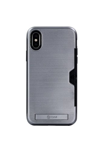 Roar PC TPU Brushed Case with Card Slot and Kickstand for iPhone X