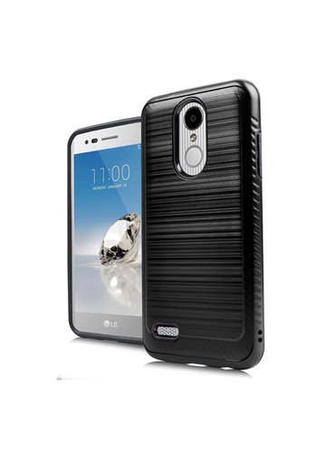 Metallic PC TPU Brushed Case with Carbon Fiber Edge for LG Aristo 2 X210 / Tribute Dynast