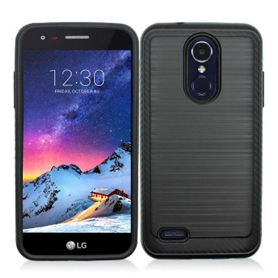 Eclipse Metallic PC TPU Brushed Case with Carbon Fiber Edge for LG Aristo 2 X210 / Tribute Dynasty