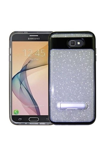 Guardian PC+TPU Solid Edge Clear Case with Glitter Paper and Kickstand For Galaxy J7 Perx / Prime 2017 - Apro Stand Bumper