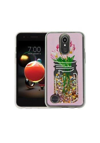 Guardian PC + TPU Liquid Quicksand with Flower Mason Jar Case for LG Aristo 2 X210 / Tribute Dynasty - Art Milkyway