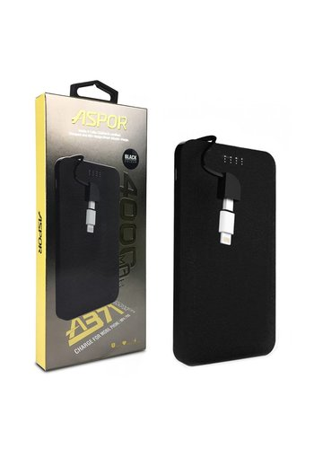 Aspor Slim Power Bank with Built-in Micro USB Cable and Lightning Adapter (A371) - 4,000 mAh