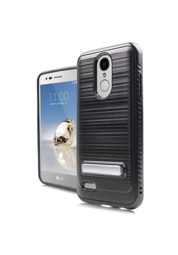 Metallic PC TPU Brushed Case Carbon Fiber Edge with Kickstand for LG Aristo 2 X210 / Tribute Dynasty
