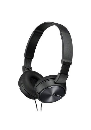 Coby Aluminum Folding Headphones with Mic + Remote CV-85