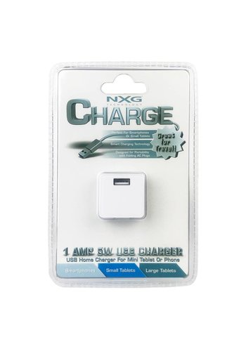 NXG Charge 1A 5W Single USB Home Travel Charger Adapter Only