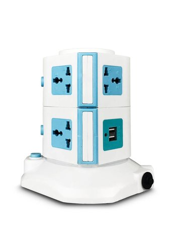 Universal Power Station Tower with 7 Outlets and Dual-USB