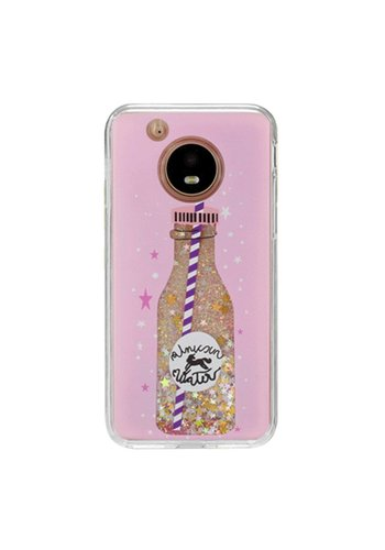 Guardian PC + TPU Liquid Quicksand with Unicorn Water Bottle Case for Motorola Moto E4 - Art Milkyway