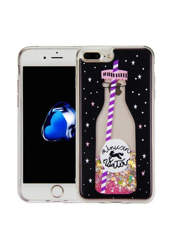 Guardian PC + TPU Liquid Quicksand with Unicorn Water Bottle Case for iPhone 7/8 Plus - Art Milkyway