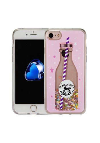 Guardian PC + TPU Liquid Quicksand with Unicorn Water Bottle Case for iPhone 6/6S Plus - Art Milkyway