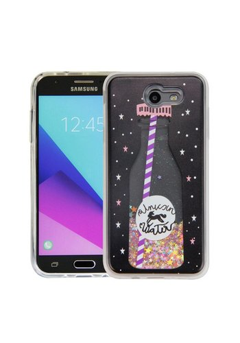 Guardian PC + TPU Liquid Quicksand with Unicorn Water Bottle Case for Galaxy J7 Perx / Prime 2017 - Art Milkyway