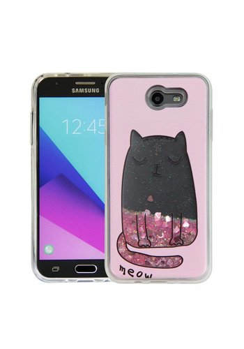 Guardian PC + TPU Liquid Quicksand with Meow Cat Case for Galaxy J7 Perx / Prime 2017 - Art Milkyway
