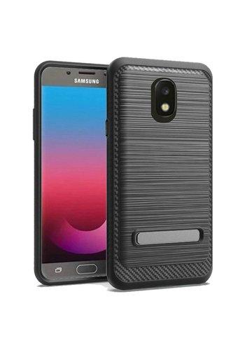 Metallic PC TPU Brushed Case Carbon Fiber Edge with Kickstand for Galaxy J7 Refine (2018)