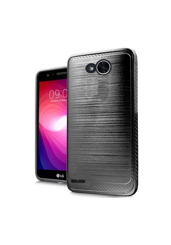 Metallic PC TPU Brushed Case with Carbon Fiber Edge for LG X Power 2 / X Charge