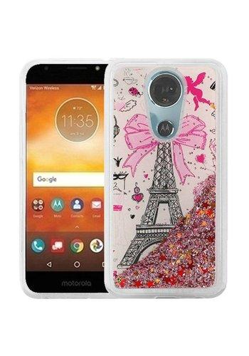 Liquid Quicksand with Glitter Design Hybrid Hard PC TPU Case for Motorola Moto E5 Plus - Paris
