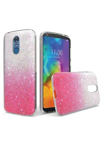 Gradient Two Tone Glitter Paper TPU Gel Case For LG Q7 Plus