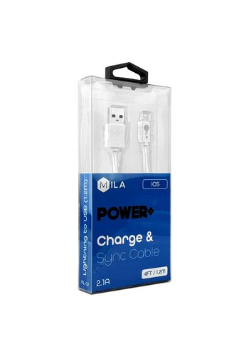 MILA | Lightning POWER+ 4ft / 1.2M Charge & Sync Cable Retail Packaging White