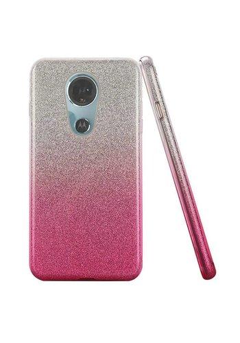 Gradient Two Tone Glitter Paper TPU Gel Case For Motorola Moto E5 Plus