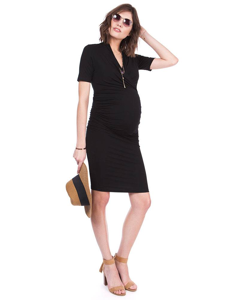 Seraphine Prue Bodycon Black Maternity Dress