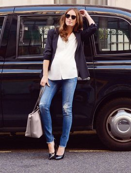 Seraphine Hunter Distressed Slim Under Bump Jeans