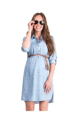 Seraphine Lula Denim Blue Maternity Shirt Dress