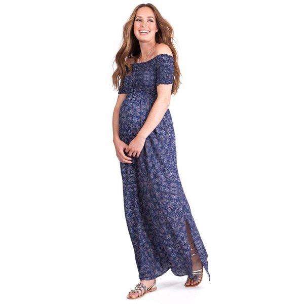 Cara Shirred Off Shoulder Maxi Dress