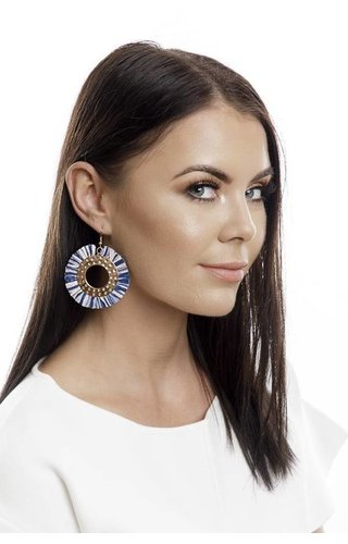 Abbie Raffia Circle Earrings