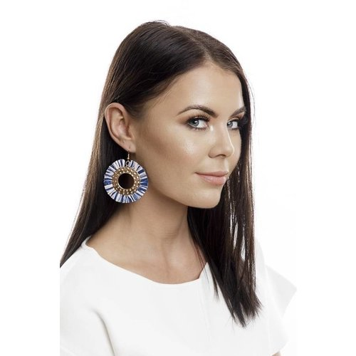 Iskia Abbie Raffia Circle Earrings