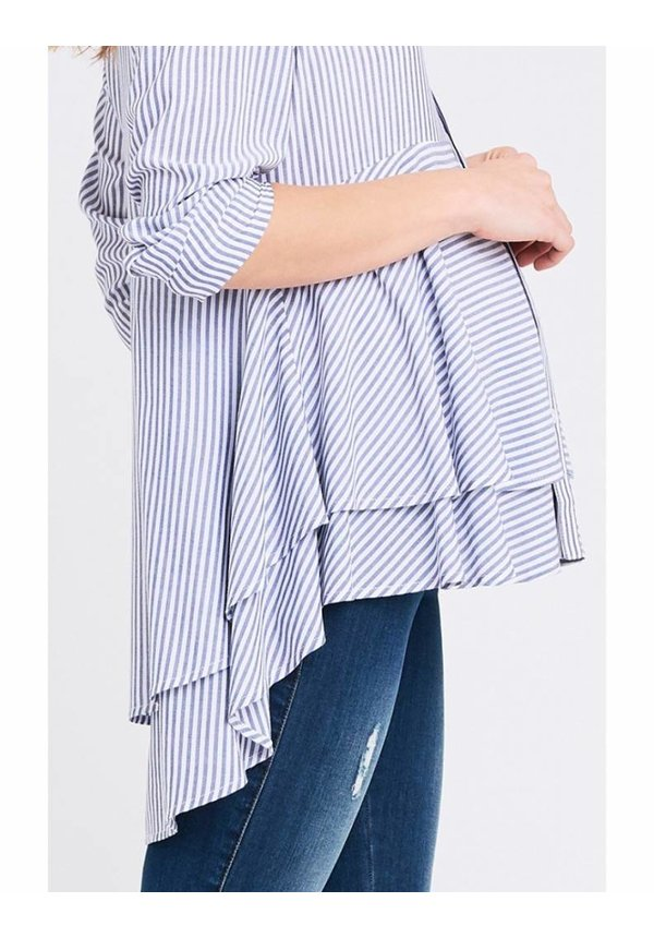 Stripe Layered Peplum Shirt