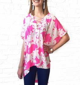 Electric Pink Lace Up Tunic