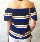 Navy Stripe Multi Off Shoulder