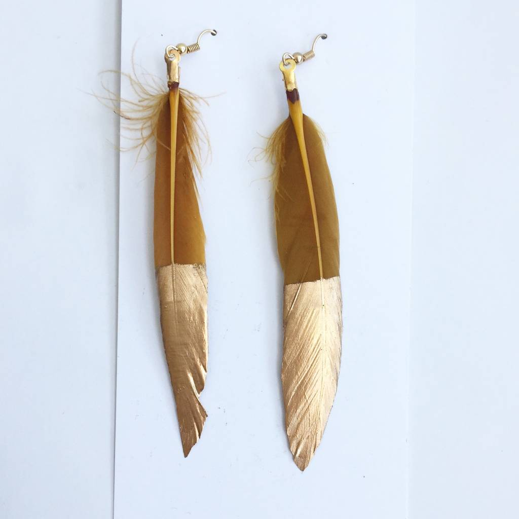 Gold Feather Dip Earrings