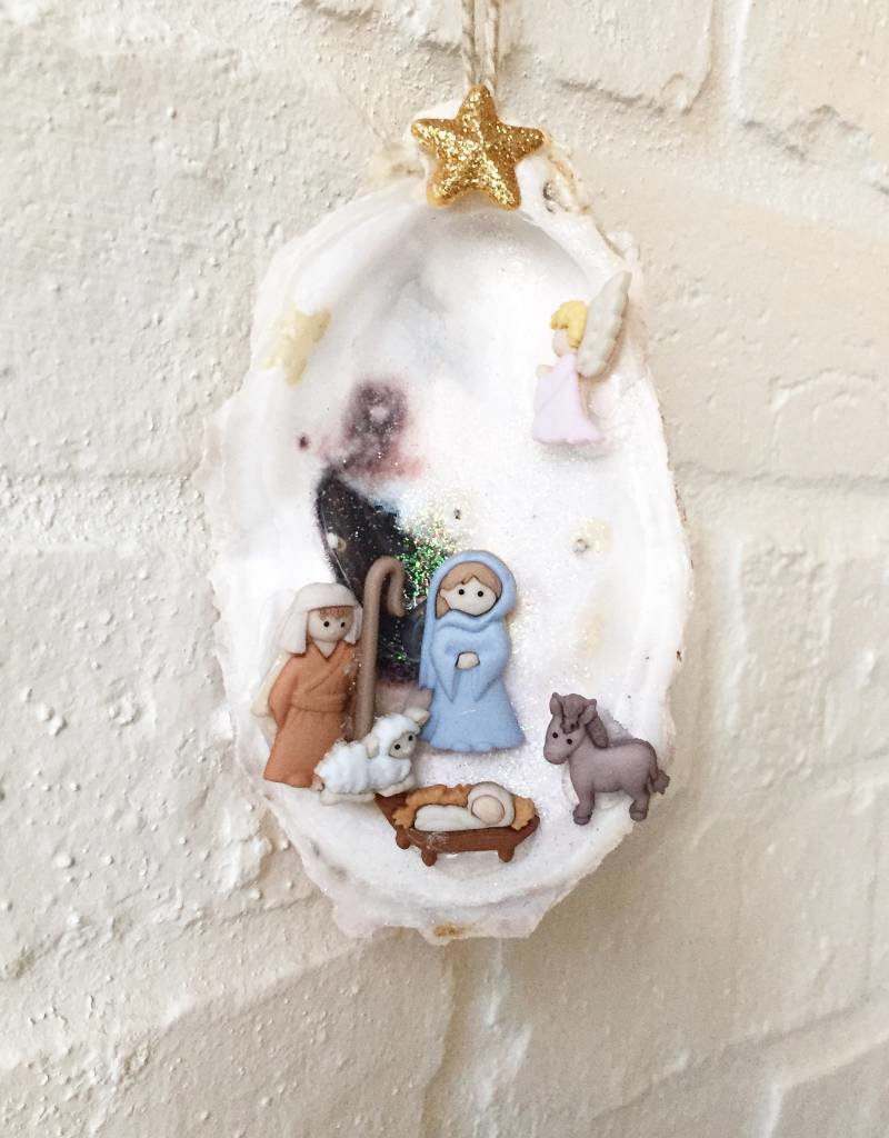 Nativity Oyster Ornament