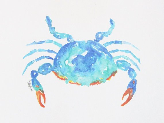 Watercolor Crab Print