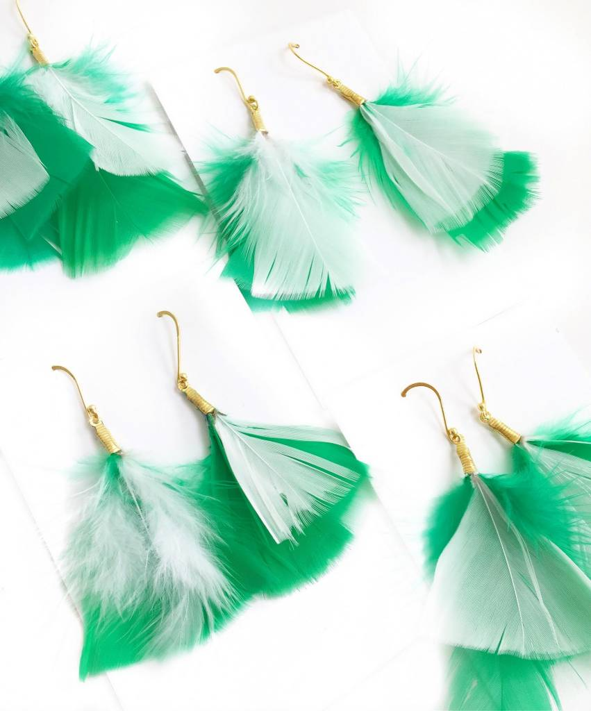 Green St. Patty's Day Feather Earrings