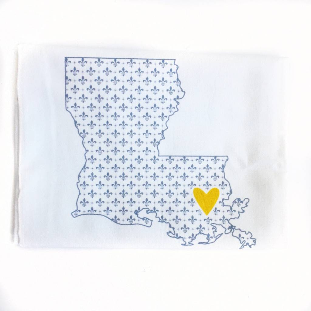 LA State Gray Fleur de Lis/Yellow Heart Towel