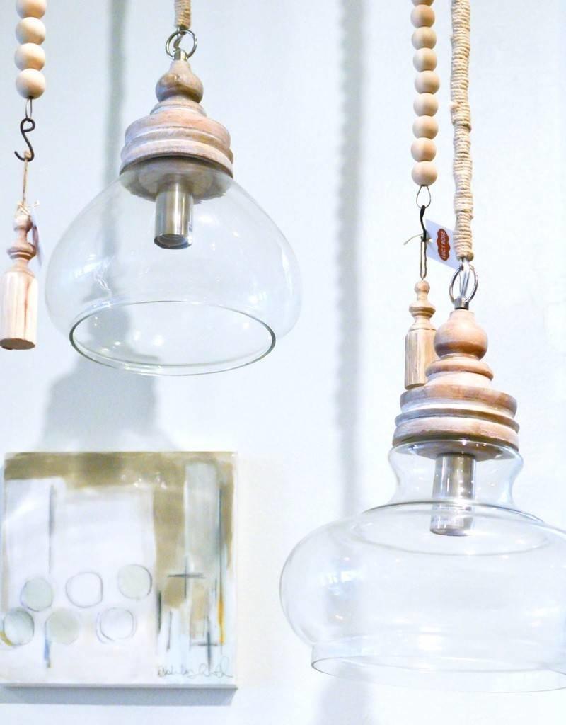 "11"" Glass/Wd Pendant Light"