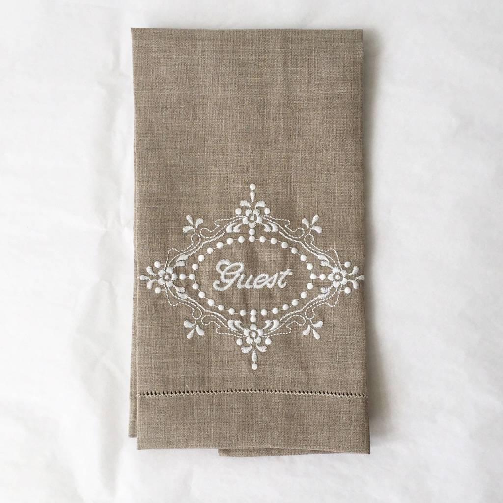 Embroidered Hemstitch Twl-Nat