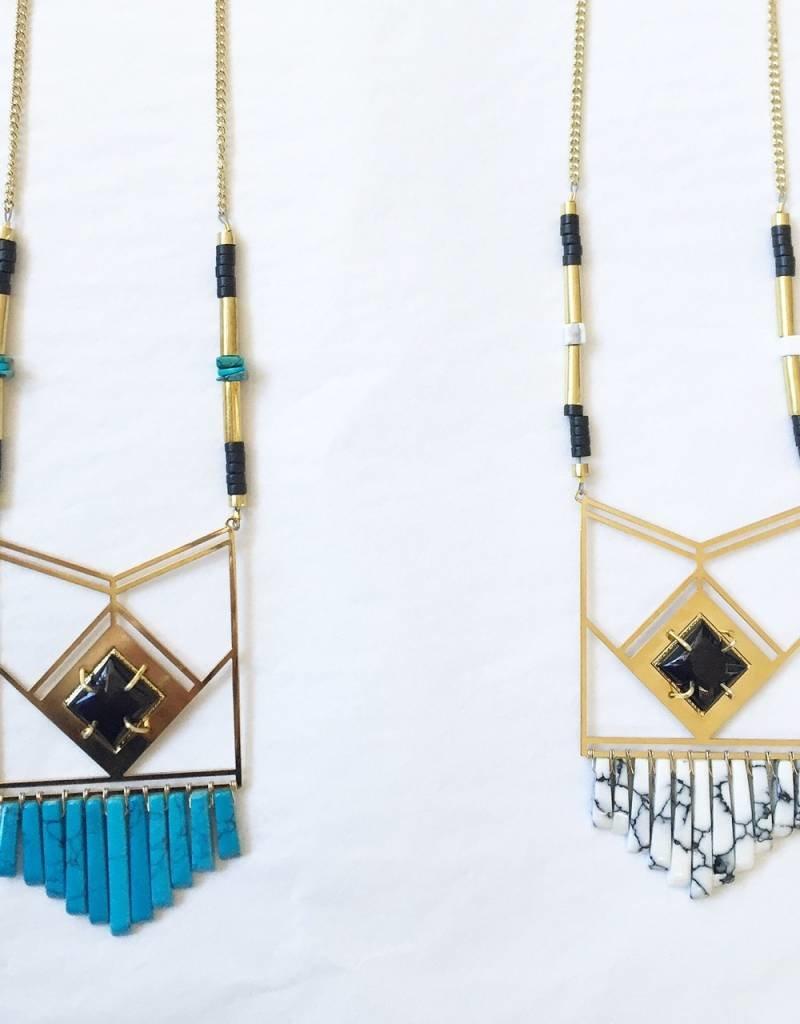 Veracruz Fringe Necklace-Turq