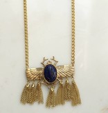 Lapis Beatle Fringe Necklace