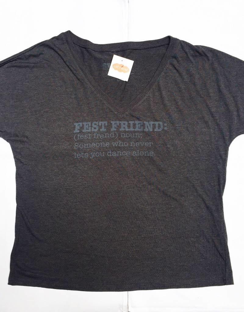 D. Gray Fest Friend Vneck Tee