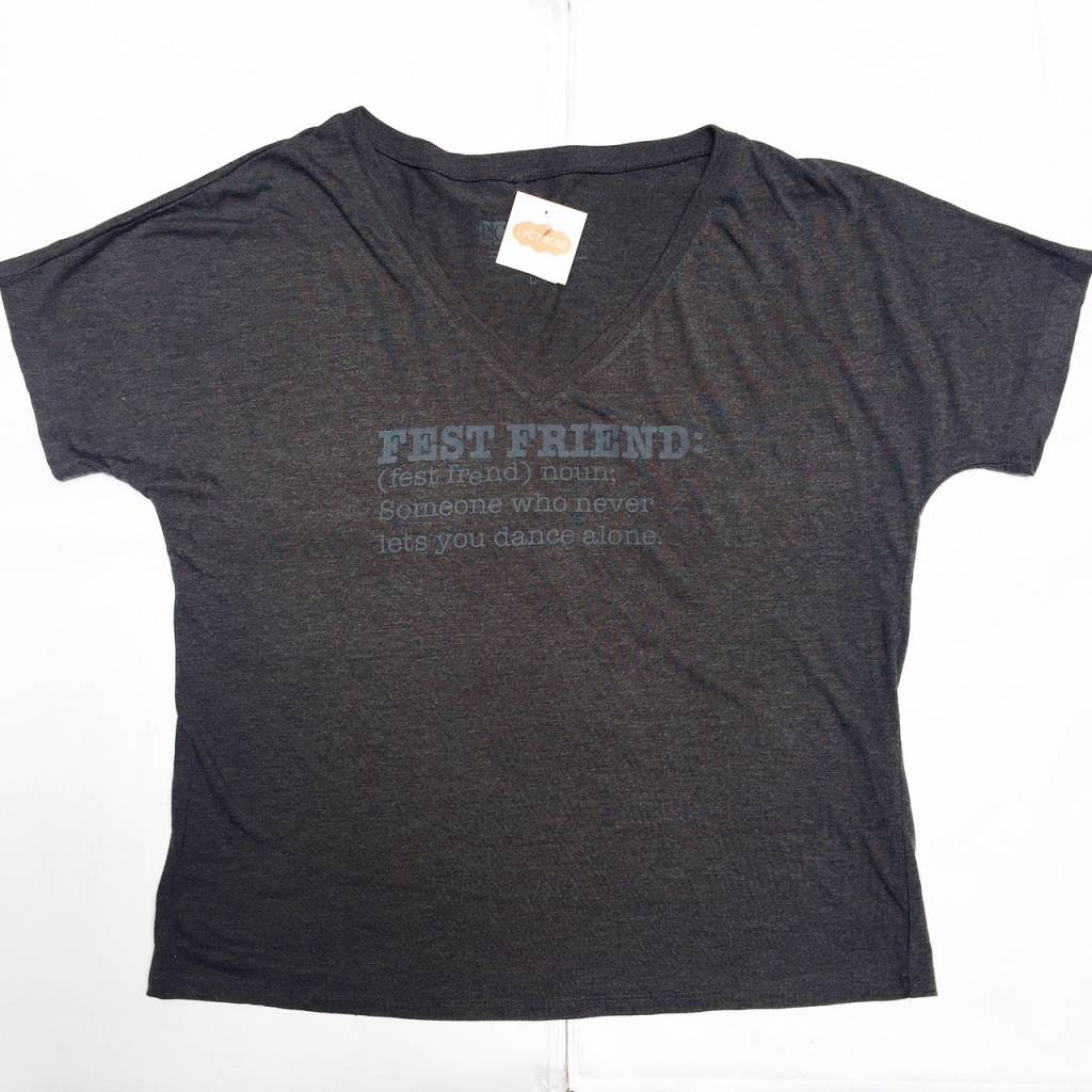D. Gray Fest Friend Vneck Tee