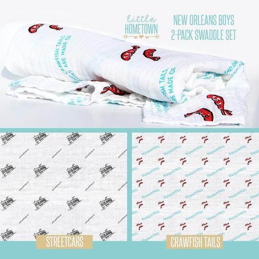 """New Orleans Boys"" 2-Pack Swaddle Set"