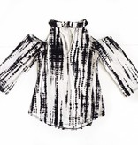 Black/White Tie-Dye Cold Shoulder Top
