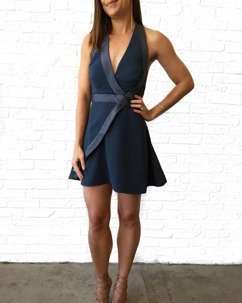 Steel Blue Halter Mini Dress