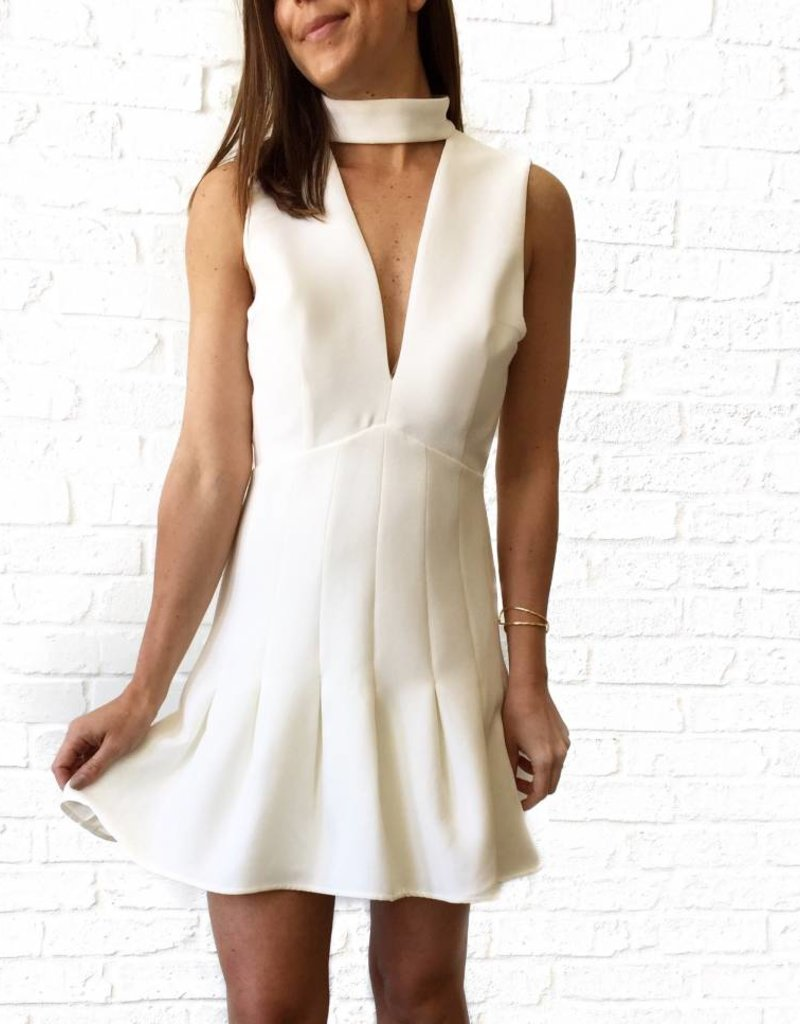 Ivory Keyhole Vneck Dress