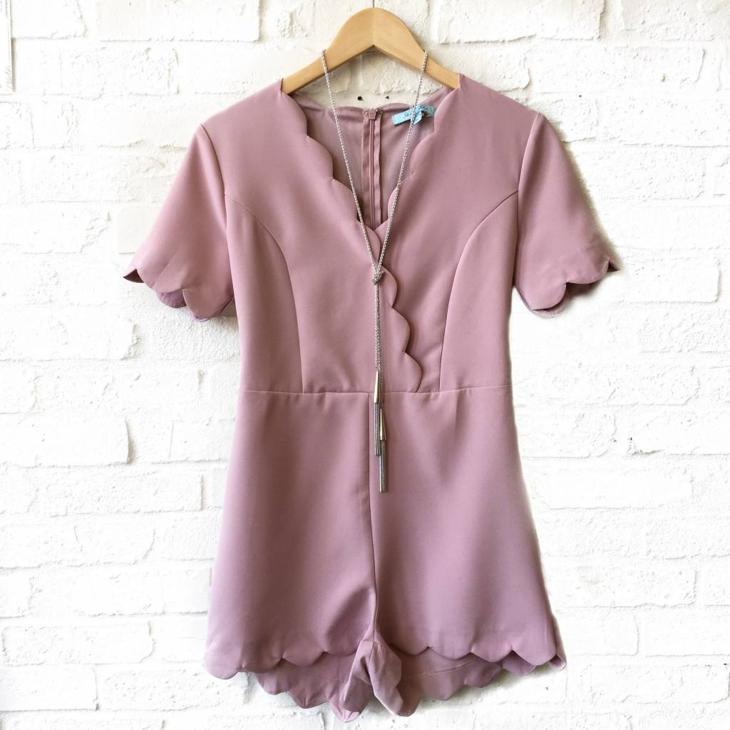 Dusty Pink Scalloped Romper
