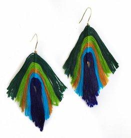 Peacock Ombré Feather Earrings